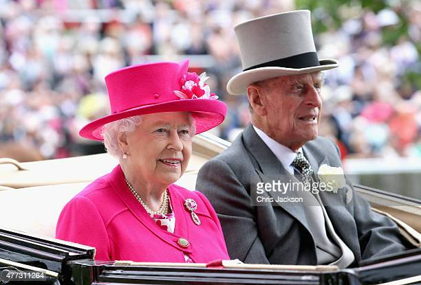 Queen Elizabeth II and Prince Philip Duke of Edinburgh arrive for day 1 of Royal Ascot at Ascot Racecourse on June 16 2015 in Ascot England