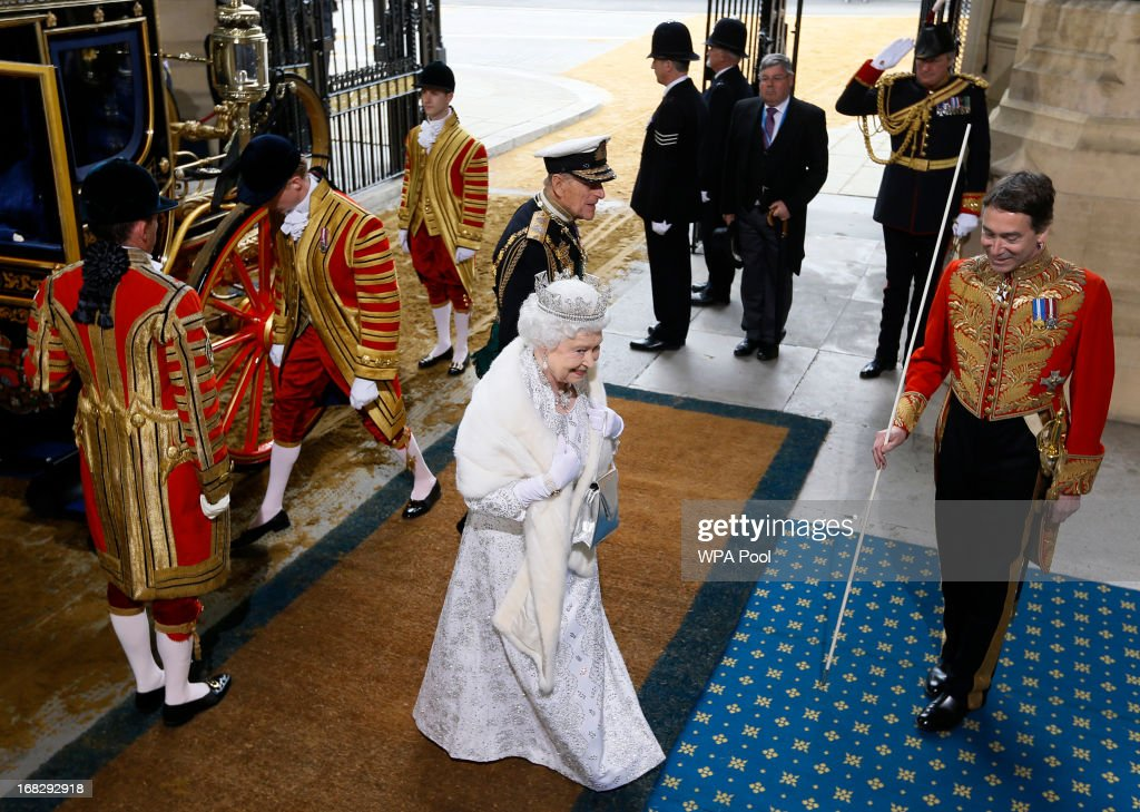Queen Elizabeth II and Prince Philip, Duke of Edinburgh arrive for the State Opening of Parliament at the Houses of Parliament on May 8, 2013 in London, England. Queen Elizabeth II unveiled the coalition government's legislative programme in a speech delivered to Members of Parliament and Peers in The House of Lords. Proposed legislation is expected to be introduced on toughening immigration regulations, capping social care costs in England and setting a single state pension rate of 144 GBP per week.