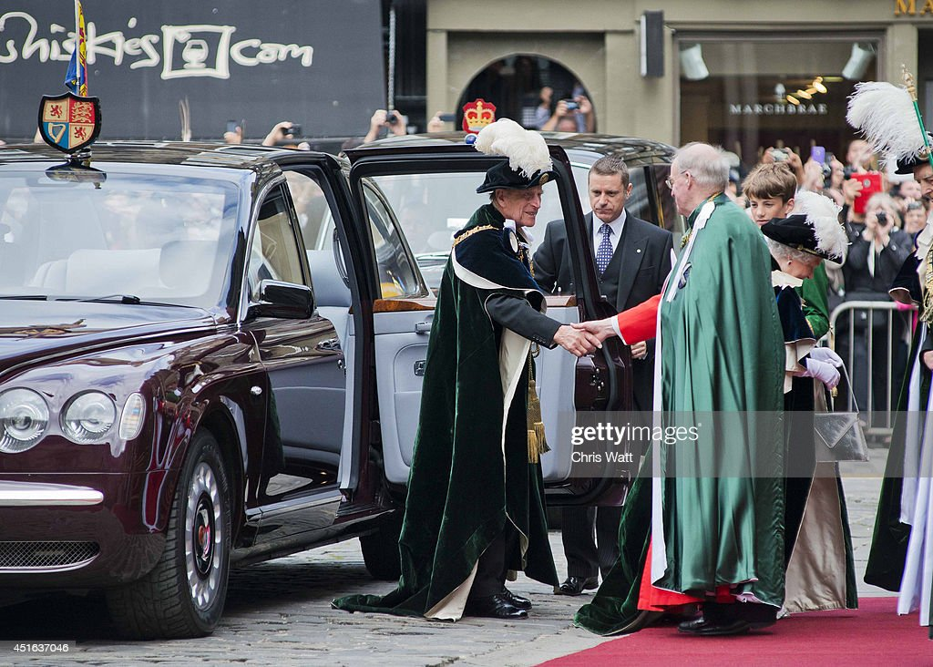 Queen Elizabeth II and Prince Philip, Duke of Edinburgh arrive for the Thistle Service at St Giles' Cathedral on July 3, 2014 in Edinburgh, Scotland. The Queen and The Duke of Edinburgh have spent the week in Scotland attending various events and staying at the Palace of Holyroodhouse. The visit comes before the referendum vote on the 18th September.