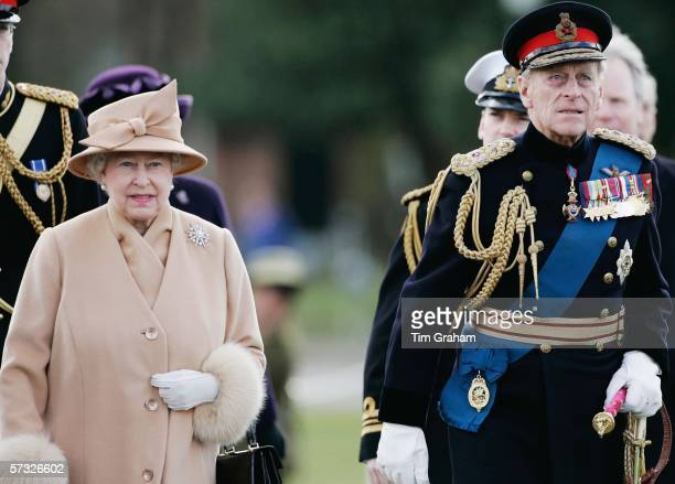 Queen Elizabeth II and Prince Philip Duke of Edinburgh at Sovereign's Parade at Sandhurst Military Academy where Prince Harry will passout as...