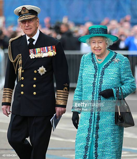 Queen Elizabeth II and Prince Philip Duke of Edinburgh at the formal naming ceremony for HMS Queen Elizabeth the Royal Navy's biggest ever ship on...