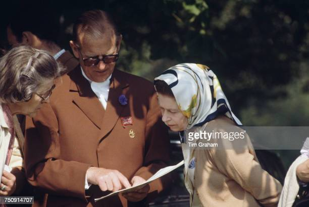 Queen Elizabeth II and Prince Philip Duke of Edinburgh at the Royal Windsor Horse Show Windsor Great Park 16th May 1982