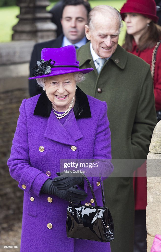 Queen Elizabeth II and <a gi-track='captionPersonalityLinkClicked' href=/galleries/search?phrase=Prince+Philip&family=editorial&specificpeople=92394 ng-click='$event.stopPropagation()'>Prince Philip</a>, Duke of Edinburgh attend a service at the Church Of St Peter And St Paul in West Newton near Sandringham on February 3, 2013 near King's Lynn, England.