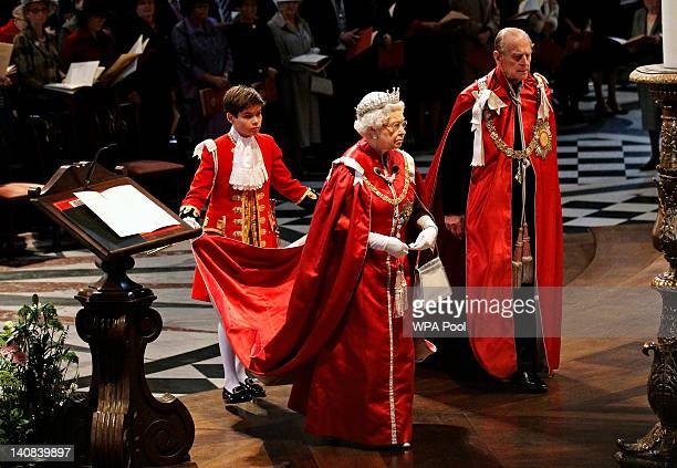 Queen Elizabeth II and Prince Philip Duke of Edinburgh attend a service for the Order of the British Empire at St Paul's Cathedral on March 7 2012 in...