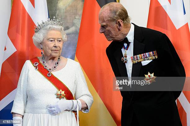 Queen Elizabeth II and Prince Philip Duke of Edinburgh attend a State Banquet on day 2 of a four day State Visit on June 24 2015 in Berlin Germany