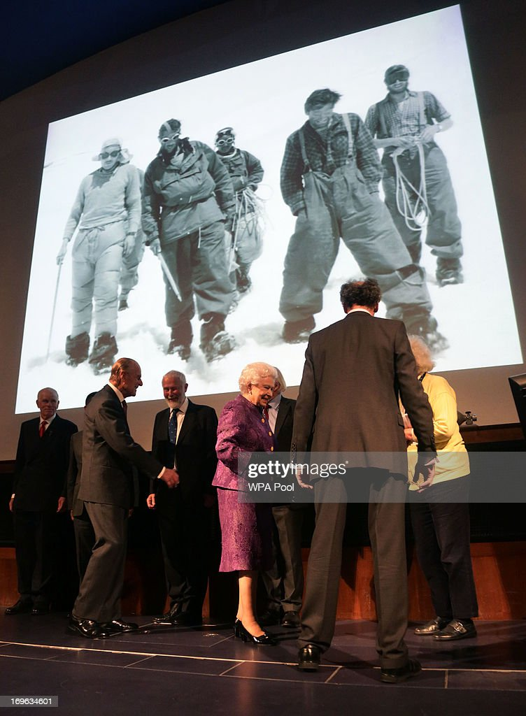 Queen <a gi-track='captionPersonalityLinkClicked' href=/galleries/search?phrase=Elizabeth+II&family=editorial&specificpeople=67226 ng-click='$event.stopPropagation()'>Elizabeth II</a> and Prince Philip, Duke of Edinburgh attend a reception to celebrate the 60th Anniversary of the ascent of Everest, at the Royal Geographical Society in Kensington, on May 29, 2013 in west London, England.