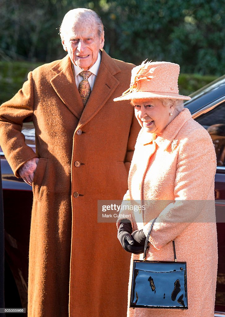Queen Elizabeth II and Prince Philip, Duke of Edinburgh attend church at Hillington on January 17, 2016 in King's Lynn, England.