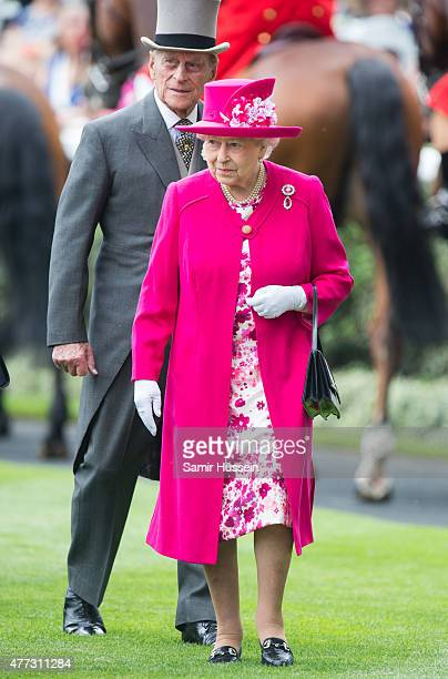 Queen Elizabeth II and Prince Philip Duke of Edinburgh attend day 1 of Royal Ascot at Ascot Racecourse on June 16 2015 in Ascot England