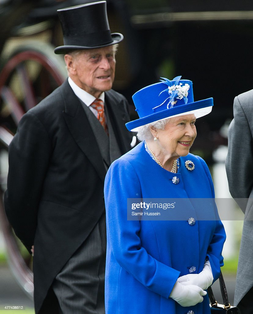 Queen Elizabeth II and Prince Philip, Duke of Edinburgh attend day 2 of Royal Ascot at Ascot Racecourse on June 17, 2015 in Ascot, England.