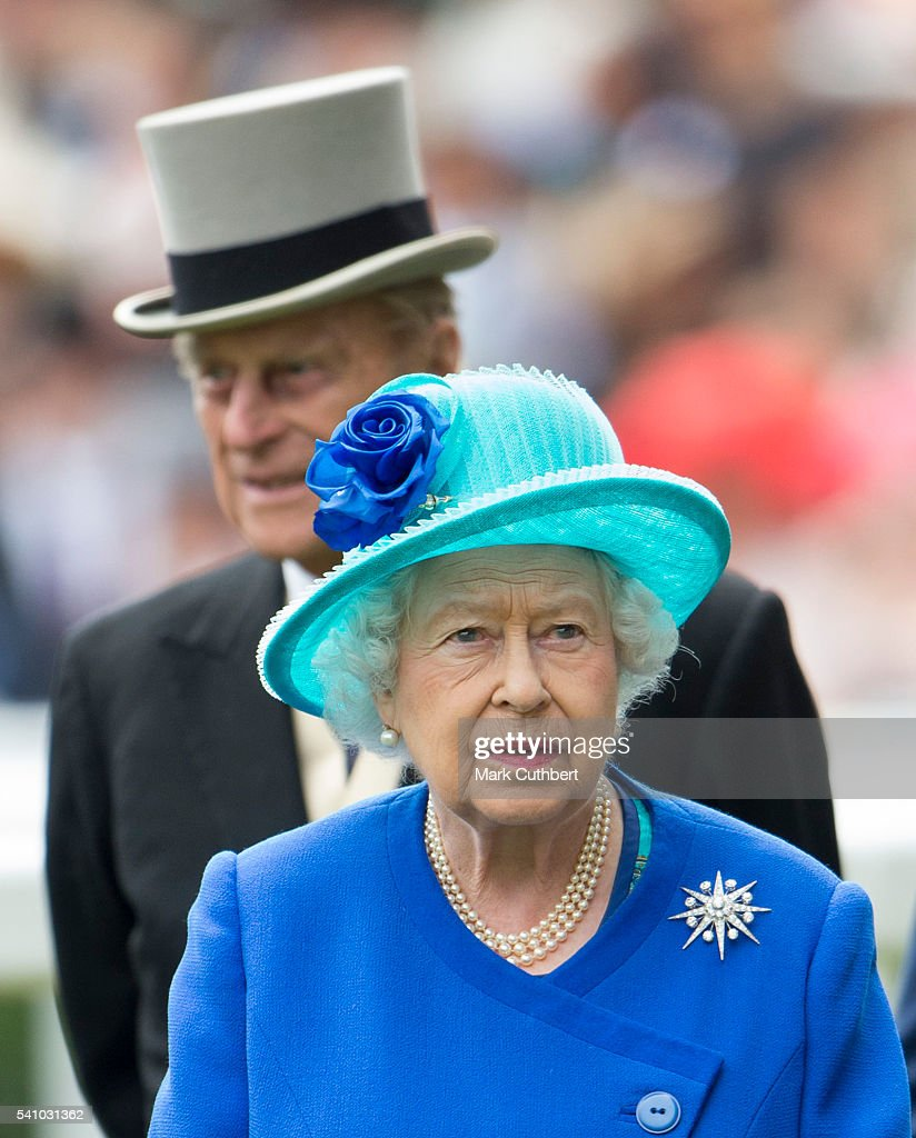 Queen Elizabeth II and Prince Philip, Duke of Edinburgh attend day 5 of Royal Ascot at Ascot Racecourse on June 18, 2016 in Ascot, England.
