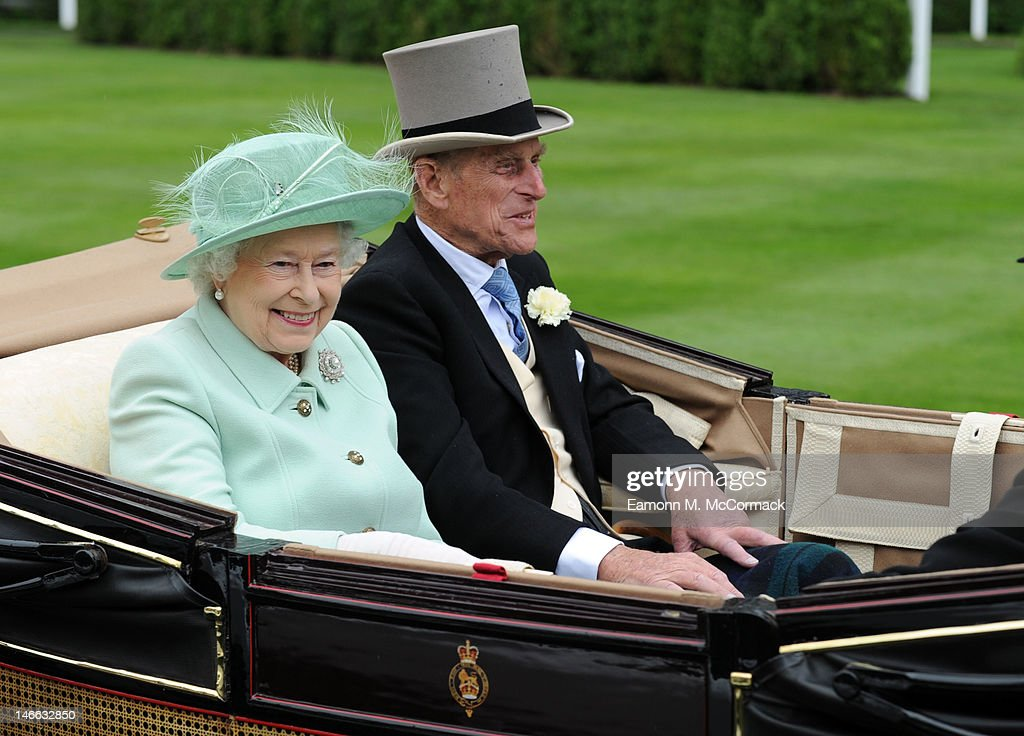 Queen <a gi-track='captionPersonalityLinkClicked' href=/galleries/search?phrase=Elizabeth+II&family=editorial&specificpeople=67226 ng-click='$event.stopPropagation()'>Elizabeth II</a> and <a gi-track='captionPersonalityLinkClicked' href=/galleries/search?phrase=Prince+Philip&family=editorial&specificpeople=92394 ng-click='$event.stopPropagation()'>Prince Philip</a>, Duke of Edinburgh attend Ladies Day at Royal Ascot at Ascot Racecourse on June 21, 2012 in Ascot, England.