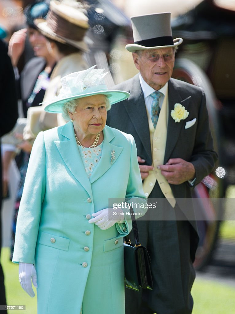 Queen Elizabeth II and Prince Philip, Duke of Edinburgh attend Ladies Day on day 3 of Royal Ascot at Ascot Racecourse on June 18, 2015 in Ascot, England.