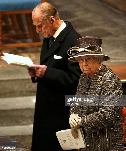 Queen Elizabeth II and Prince Philip Duke of Edinburgh attend the Inauguration Of The Tenth General Synod at Westminster Abbey on November 24 2015 in...