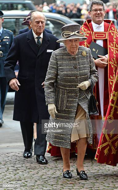 Queen Elizabeth II and Prince Philip Duke of Edinburgh attend the inauguration of the tenth General Synod at Westminster Abbey in London