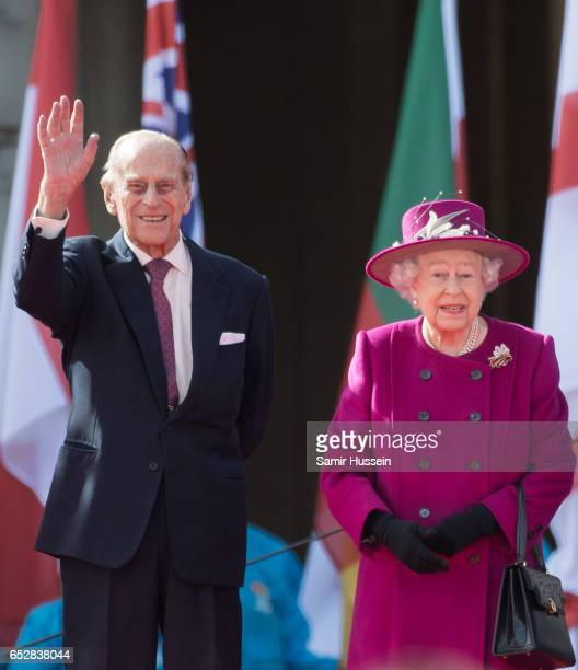 Queen Elizabeth II and Prince Philip Duke of Edinburgh attend the launch of The Queen's Baton Relay for the XXI Commonwealth Games being held on the...