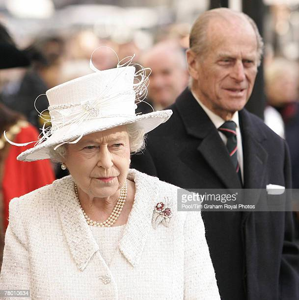 Queen Elizabeth II and Prince Philip Duke of Edinburgh attend the unveiling of the Jubilee Walkway panel at Parliament Square and meet wellwishers...