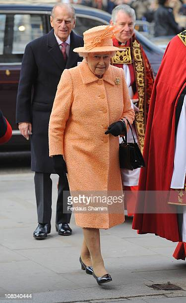 Queen Elizabeth II and Prince Philip Duke Of Edinburgh attend the ninth Inauguration of the General Synod at Westminster Abbey on November 23 2010 in...