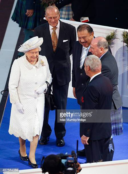Queen Elizabeth II and Prince Philip Duke of Edinburgh attend the Opening Ceremony for the Glasgow 2014 Commonwealth Games at Celtic Park on July 23...