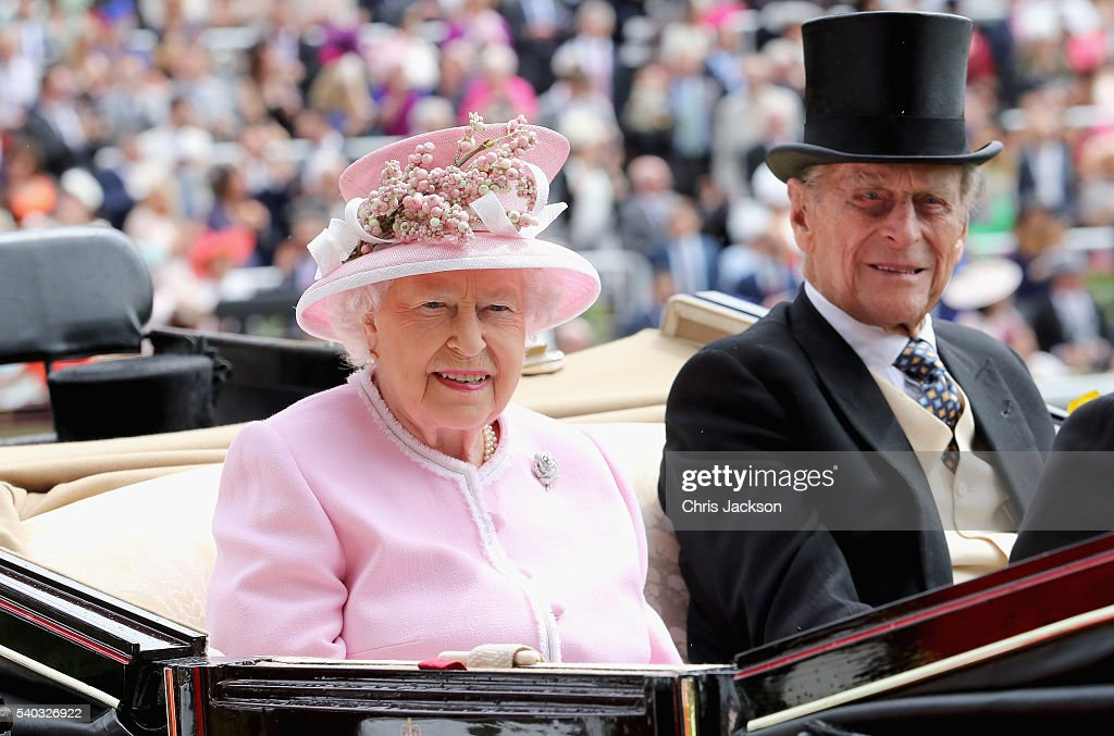 Queen Elizabeth II and Prince Philip, Duke of Edinburgh attend the second day of Royal Ascot at Ascot Racecourse on June 15, 2016 in Ascot, England.