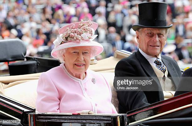 Queen Elizabeth II and Prince Philip Duke of Edinburgh attend the second day of Royal Ascot at Ascot Racecourse on June 15 2016 in Ascot England