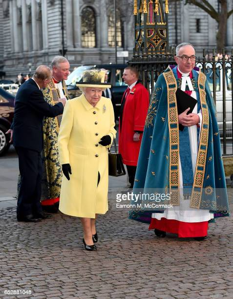 Queen Elizabeth II and Prince Philip Duke of Edinburgh attend the annual Commonwealth Day service and reception during Commonwealth Day celebrations...