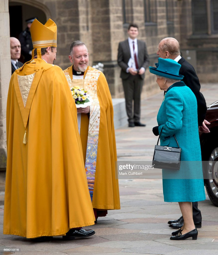 Queen Elizabeth II and Prince Philip, Duke of Edinburgh attend the Royal Maundy service at Leicester Cathedral on April 13, 2017 in Leicester, England. The Queen & Duke of Edinburgh travelled by car from Leicester station along Humberstone Gate, High Street and Jubilee Square.