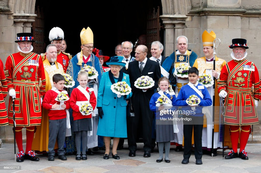 Queen Elizabeth II and Prince Philip, Duke of Edinburgh attend the traditional Royal Maundy service at Leicester Cathedral on April 13, 2017 in Leicester, England. During the service The Queen distributed ceremonial Maundy Money to 91 men and 91 women from the local community.