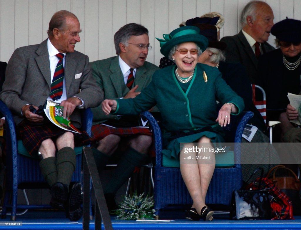 Queen Elizabeth II and Prince Philip, Duke of Edinburgh, attend the Braemar Gathering at the Princess Royal and Duke of Fife Memorial Park on September 1, 2007 in Braemar, Scotland. The monarch is Chieftain of the Braemar Gathering which attracts large crowds each year. There have been gatherings of one sort or another at Braemar for the last nine hundred years.
