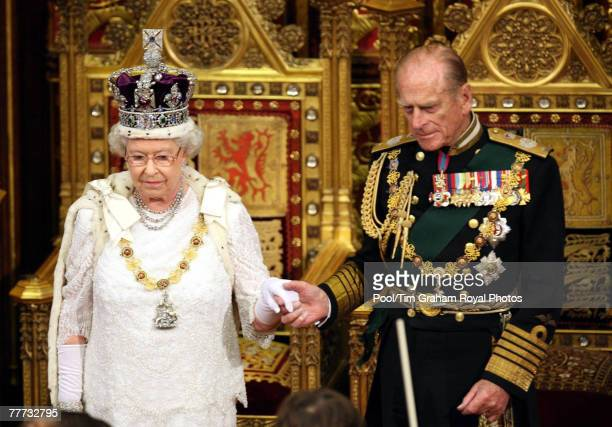 Queen Elizabeth II and Prince Philip Duke of Edinburgh attend the State Opening of Parliament at the House of Lords Westminster on November 6 2007 in...