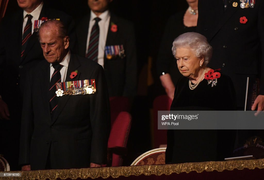 Queen Elizabeth II and Prince Philip, Duke of Edinburgh attend the annual Royal Festival of Remembrance to commemorate all those who have lost their lives in conflicts at the Royal Albert Hall on November 11, 2017 in London, England.