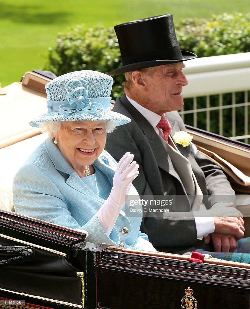Queen <a gi-track='captionPersonalityLinkClicked' href=/galleries/search?phrase=Elizabeth+II&family=editorial&specificpeople=67226 ng-click='$event.stopPropagation()'>Elizabeth II</a> and <a gi-track='captionPersonalityLinkClicked' href=/galleries/search?phrase=Prince+Philip&family=editorial&specificpeople=92394 ng-click='$event.stopPropagation()'>Prince Philip</a>, Duke of Edinburgh attends day one of Royal Ascot at Ascot Racecourse on June 19, 2012 in Ascot, England.