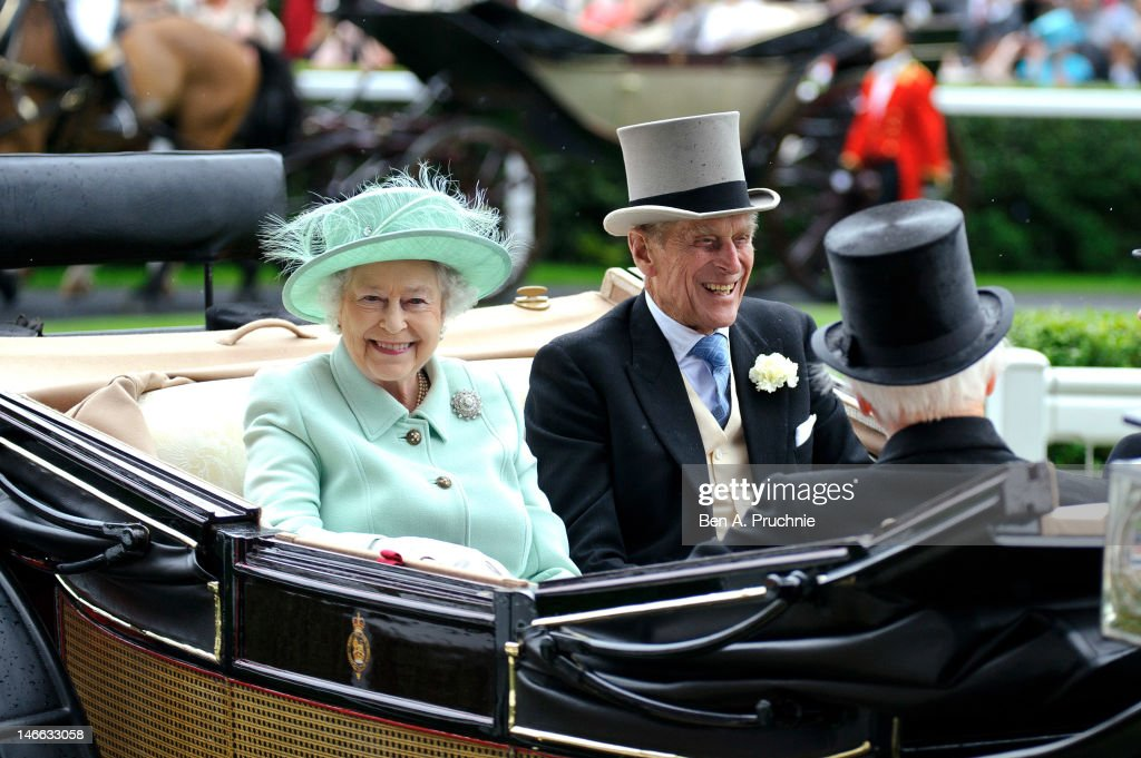 Queen <a gi-track='captionPersonalityLinkClicked' href=/galleries/search?phrase=Elizabeth+II&family=editorial&specificpeople=67226 ng-click='$event.stopPropagation()'>Elizabeth II</a> and <a gi-track='captionPersonalityLinkClicked' href=/galleries/search?phrase=Prince+Philip&family=editorial&specificpeople=92394 ng-click='$event.stopPropagation()'>Prince Philip</a>, Duke of Edinburgh attends Ladies Day during Royal Ascot at Ascot Racecourse on June 21, 2012 in Ascot, England.