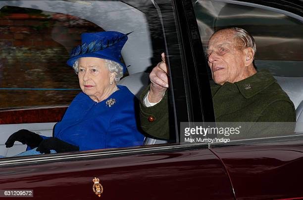 Queen Elizabeth II and Prince Philip Duke of Edinburgh depart after attending the Sunday service at St Mary Magdalene Church Sandringham on January 8...