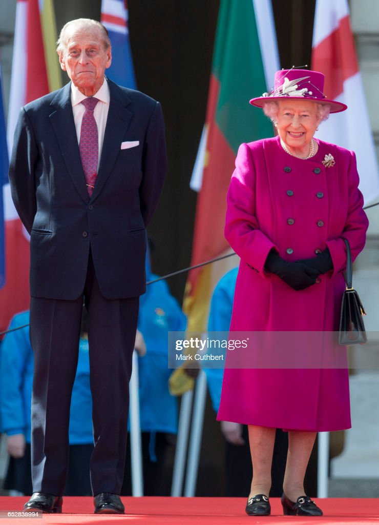 Queen Elizabeth II and Prince Philip, Duke of Edinburgh during the launch of The Queen's Baton Relay for the XXI Commonwealth Games being held on the Gold Coast in 2018 at Buckingham Palace on March 13, 2017 in London, England.