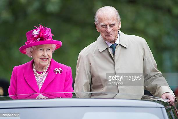 Queen Elizabeth II and Prince Philip Duke of Edinburgh during 'The Patron's Lunch' celebrations for The Queen's 90th birthday at The Mall on June 12...