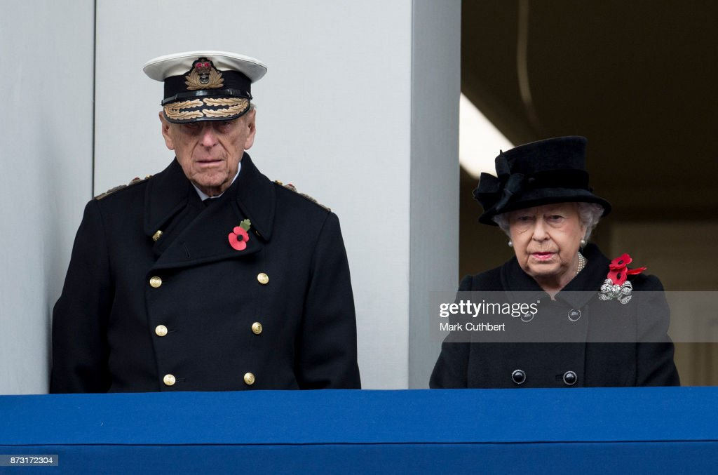 Queen Elizabeth II and Prince Philip, Duke of Edinburgh during the annual Remembrance Sunday memorial on November 12, 2017 in London, England. The Prince of Wales, senior politicians, including the British Prime Minister and representatives from the armed forces pay tribute to those who have suffered or died at war.