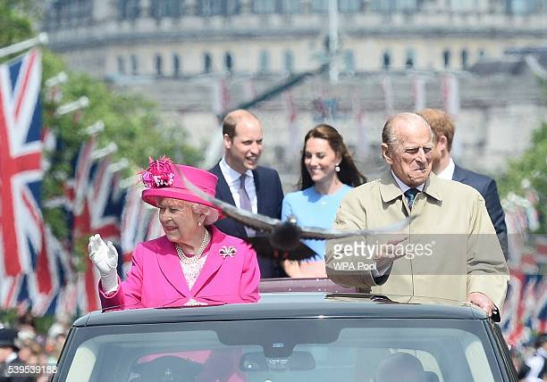Queen Elizabeth II and Prince Philip Duke of Edinburgh followed by Prince William Duke of Cambridge Catherine Duchess of Cambridge and Prince Harry...
