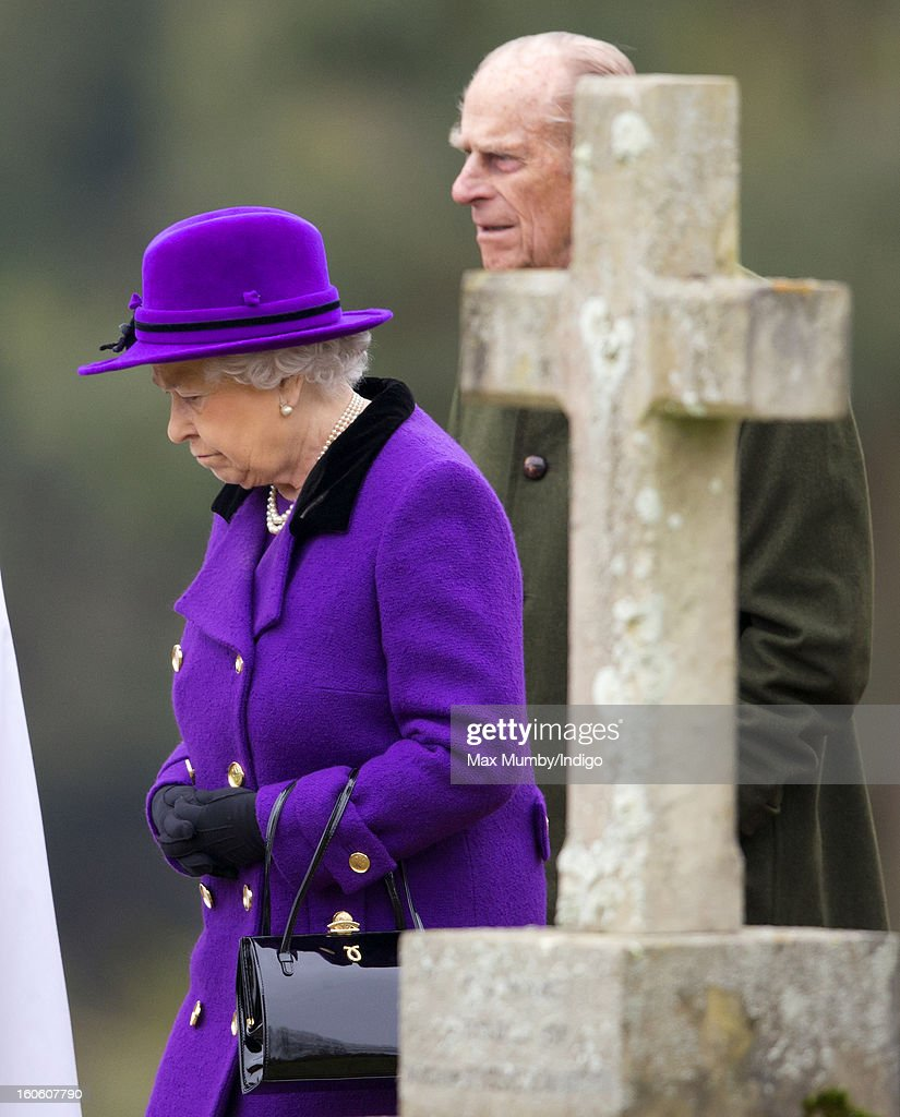 Queen Elizabeth II and <a gi-track='captionPersonalityLinkClicked' href=/galleries/search?phrase=Prince+Philip&family=editorial&specificpeople=92394 ng-click='$event.stopPropagation()'>Prince Philip</a>, Duke of Edinburgh leave the church of St Peter and St Paul in West Newton after attending Sunday service on February 03, 2013 near King's Lynn, England.