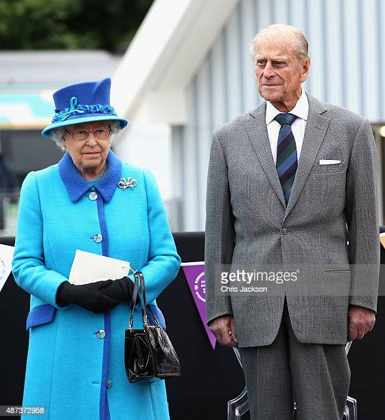 Queen Elizabeth II and Prince Philip Duke of Edinburgh look on at the opening of the Borders Railway at Tweedbank Station on September 9 2015 in...