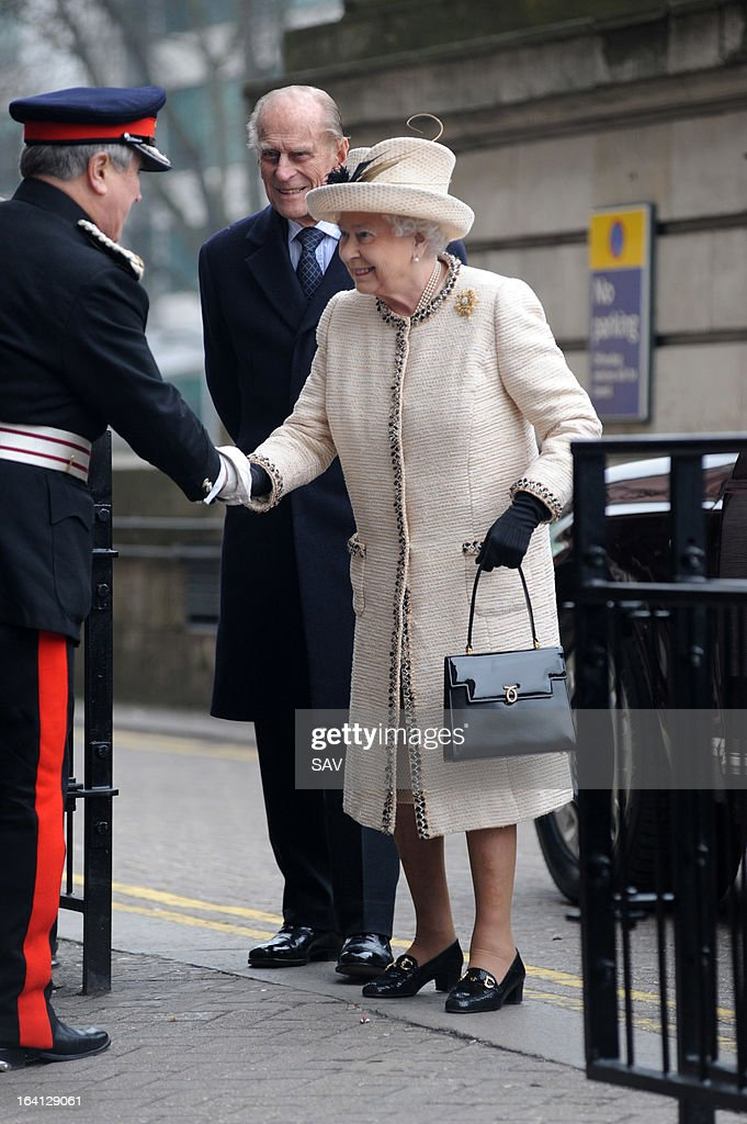 Queen Elizabeth II and Prince Philip, Duke of Edinburgh make an official visit to Baker Street Underground Station on March 20, 2013 in London, England.