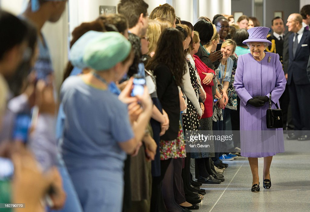 Queen <a gi-track='captionPersonalityLinkClicked' href=/galleries/search?phrase=Elizabeth+II&family=editorial&specificpeople=67226 ng-click='$event.stopPropagation()'>Elizabeth II</a> and Prince Philip, Duke of Edinburgh meet staff as they tour and open the new Royal London Hospital building and the new National Centre for Bowel Research and Surgical Innovation on February 27, 2013 in London, England.