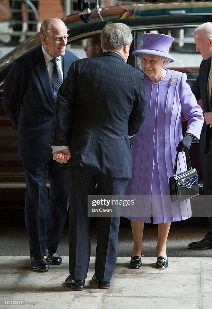 Queen <a gi-track='captionPersonalityLinkClicked' href=/galleries/search?phrase=Elizabeth+II&family=editorial&specificpeople=67226 ng-click='$event.stopPropagation()'>Elizabeth II</a> and <a gi-track='captionPersonalityLinkClicked' href=/galleries/search?phrase=Prince+Philip&family=editorial&specificpeople=92394 ng-click='$event.stopPropagation()'>Prince Philip</a>, Duke of Edinburgh meet staff as they arrive for their tour and to open the new Royal London Hospital building and the new National Centre for Bowel Research and Surgical Innovation on February 27, 2013 in London, England.