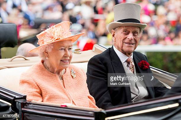 Queen Elizabeth II and Prince Philip Duke of Edinburgh on day 5 of Royal Ascot at Ascot Racecourse on June 20 2015 in Ascot England