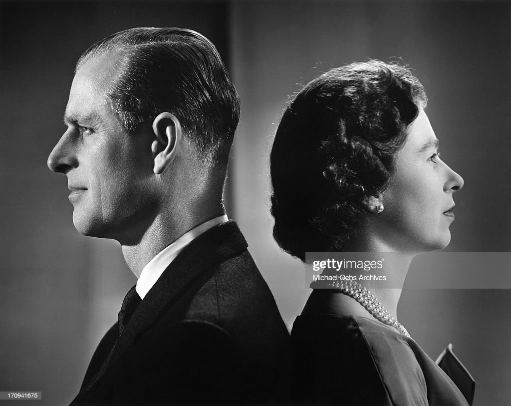 Queen Elizabeth II and Prince Philip, Duke of Edinburgh pose for a portrait at home in Buckingham Palace in December 1958 in London, England.
