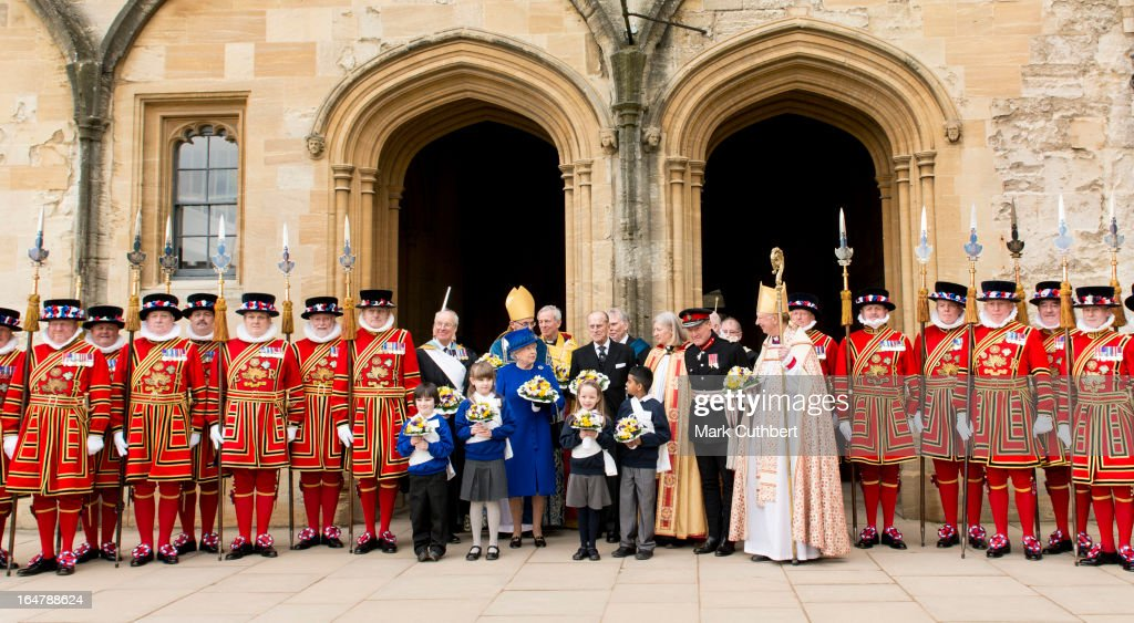 Queen Elizabeth II and Prince Philip, Duke of Edinburgh pose for an official photograph at Christs Church Cathedral in Oxford after The Royal Maundy Service on March 28, 2013 in Oxford, England.