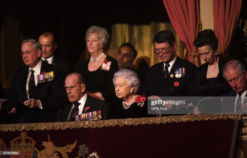 Queen Elizabeth II and Prince Philip, Duke of Edinburgh, Princess Anne, Princess Royal, Sir Tim Laurence and the Prince Charles, Prince of Wales attend the annual Royal Festival of Remembrance to commemorate all those who have lost their lives in conflicts at the Royal Albert Hall on November 11, 2017 in London, England.