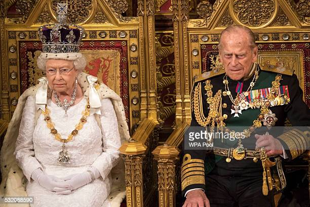 Queen Elizabeth II and Prince Philip Duke of Edinburgh sit the throne during State Opening of Parliament in the House of Lords at the Palace of...