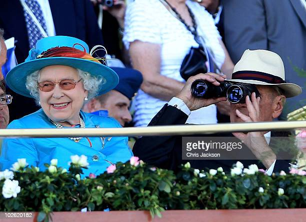 Queen Elizabeth II and Prince Philip Duke of Edinburgh smile as they attend the Woodbine Racetrack for 151st Running of The Queen�s Plate Stakes on...
