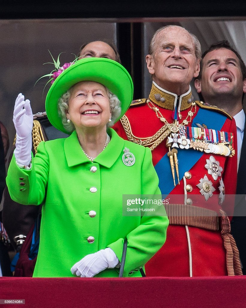 Queen Elizabeth II and Prince Philip, Duke of Edinburgh stand on the balcony during the Trooping the Colour, this year marking the Queen's official 90th birthday at The Mall on June 11, 2016 in London, England. The ceremony is Queen Elizabeth II's annual birthday parade and dates back to the time of Charles II in the 17th Century when the Colours of a regiment were used as a rallying point in battle.