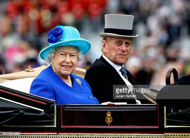 Queen Elizabeth II and Prince Philip Duke of Edinburgh take part in the carriage procession during Day Five of Royal Ascot at Ascot Racecourse on...